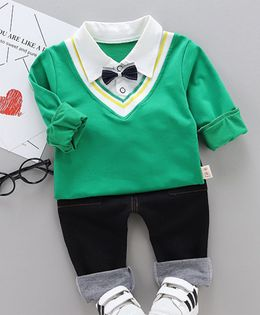 Pre Order - Awabox Solid Full Sleeves Tee & Pants Set With Attached Bow Tie - Green