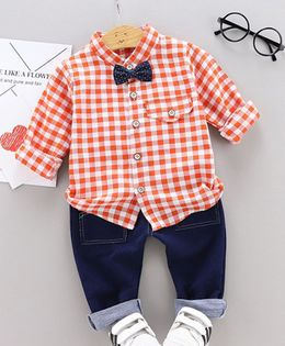 Pre Order - Awabox Checkered Full Sleeves Shirt With Denim Front Pocket Pants Set With Bow - Orange & Blue