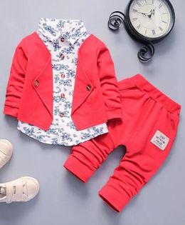 Pre Order - Awabox Flower Printed Shirt With Attached Jacket & Pants - Red