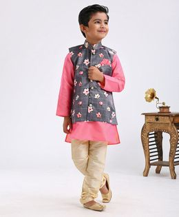 Dapper Dudes Full Sleeves Kurta With Flower Print Jacket & Churidaar Set - Grey
