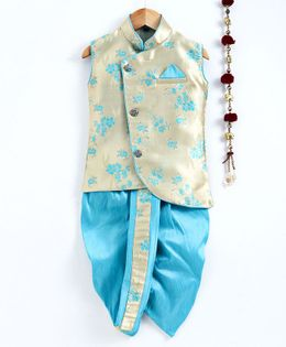 Jeet Ethnics Floral Design Sleeveless Kurta & Dhoti Set - Light Blue
