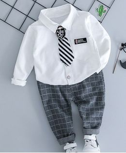 Pre Order - Awabox Solid Full Sleeves Shirt With Checkered Pants - White & Grey