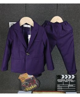 Pre Order - Awabox Full Sleeves Solid Blazer With Bottom - Purple