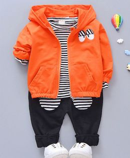 Pre Order - Awabox Striped T-Shirt With Full Sleeves Jacket & Pants - Orange