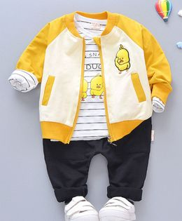 Pre Order - Awabox Duck Print T-Shirt With Front Pocket Full Sleeves Jacket & Pants - Yellow & Black
