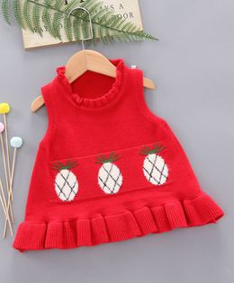 Pre Order - Awabox Pineapple Design Ruffle Detailed Sleeveless Sweater - Red