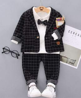 Pre Order - Awabox Full Sleeves Tee With Attached Bow Tie & Checkered Waistcoat & Pants Set - Black
