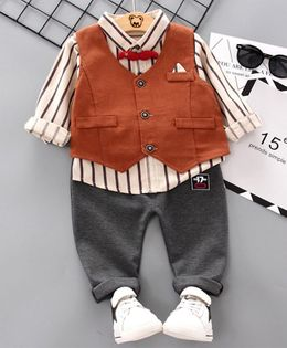 Pre Order - Awabox Striped Full Sleeves Shirt With Waistcoat & Pants - Brown
