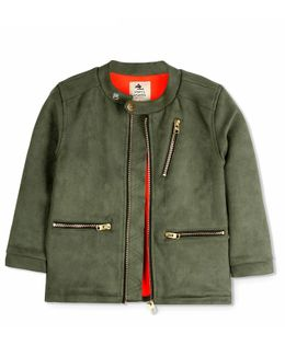 Cherry Crumble California Solid Full Sleeves Front Pocket Jacket - Green