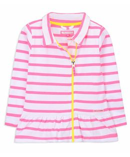 Cherry Crumble California Full Sleeves Striped Jacket - Pink