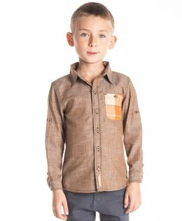 Cherry Crumble California Full Sleeves Contrast Patch Pocket Shirt - Brown