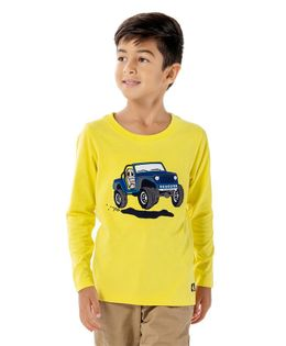 Cherry Crumble California Jeep Printed Full Sleeves T-Shirt - Yellow