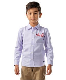 Cherry Crumble California Austin Embroidered Full Sleeves Shirt - Purple