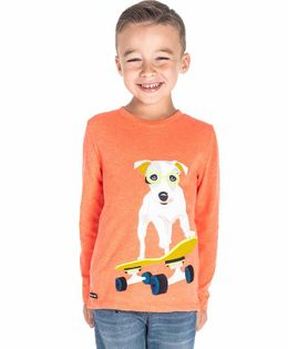 Cherry Crumble California Dog Patch Full Sleeves T-Shirt - Orange