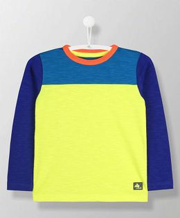 Cherry Crumble California Dual Shaded Full Sleeves T-Shirt - Blue & Yellow