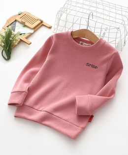 Pre Order - Awabox Smile Embroidered Full Sleeves Sweatshirt - Pink