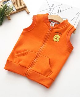 Pre Order - Awabox Duck Patch Sleeveless Front Pocket Jacket - Orange