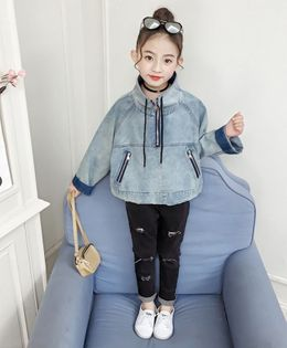 Pre Order - Awabox Back Text Embroidery Full Sleeves Denim Jacket - Light Blue