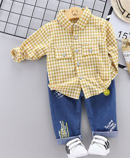 Pre Order - Awabox Full Sleeves Checked Shirt With Jeans - Yellow