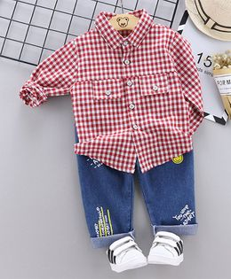 Pre Order - Awabox Full Sleeves Checked Shirt With Jeans - Red