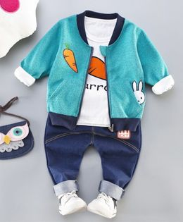Pre Order - Awabox Full Sleeves Carrot Print Tee With Jacket & Jeans Set - Blue