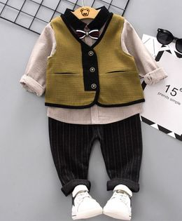 Pre Order - Awabox Striped Full Sleeves Shirt With Attached Bow Tie & Striped Pants With Waistcoat - Dark Green
