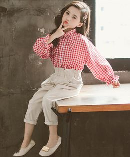 Pre Order - Awabox Checkered Bow Knot Full Sleeves Shirt Style Top & Pants Set - Red