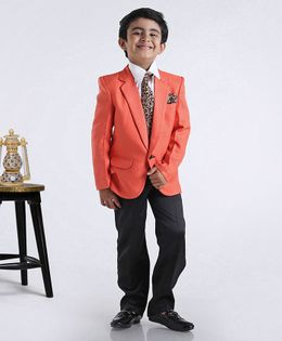 Rikidoos Full Sleeves Solid Three Piece Party Suit With Tie - Orange