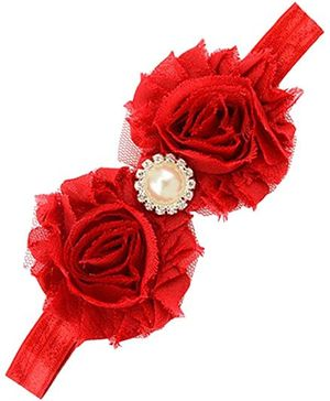 Akinos Kids Stylish Flower Headband With Pearl - Red