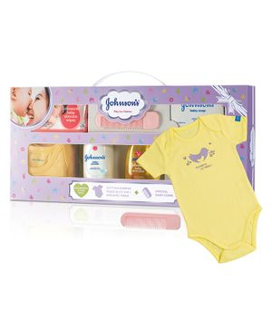 Johnson's baby Care Collection With Organic Cotton Baby Romper - 8 Gift Items