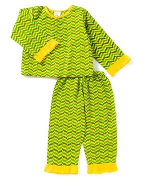 Little Pockets Store Unisex Frill Night Suit - Green