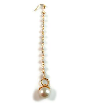 Tiny Closet Pearl Maang Tikka With One Strand - Golden & White
