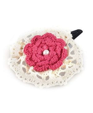 Knotty Ribbons Crochet Flower Hair Clip - Pink