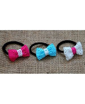 Knotty Ribbons Set Of Three Handmade Bow Rubber Band - Pink White & Blue