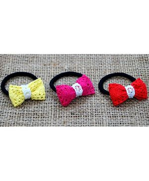 Knotty Ribbons Set Of Three Handmade Bow Rubber Band - Pink Red & Yellow