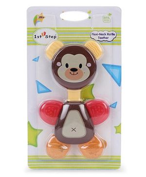 1st Step Flexi Neck Rattle Teether Brown - 14 cm