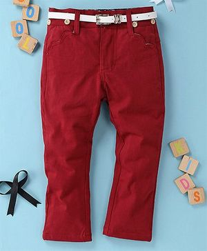 Little Star Girls Pant With Belt - Red