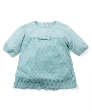 M&M Long Sleeves Netted Top - Sea Green