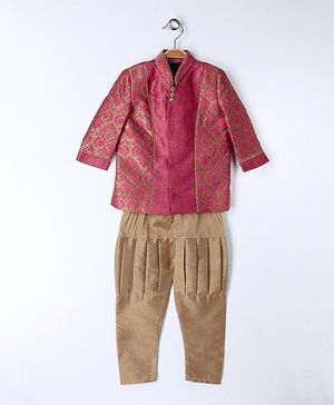 Babyoye Indo Western Kurta Pyjama Set - Pink And Brown