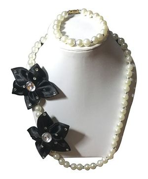 Daizy Elegant Flower Applique Girls Jewellery Necklace & Bracelet Set - White & Black