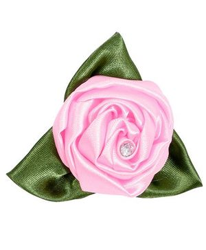 Miss Diva Rose With Leaves Brooch - Pink