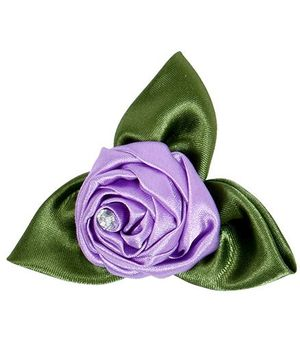 Miss Diva Rose With Leaves Brooch - Purple