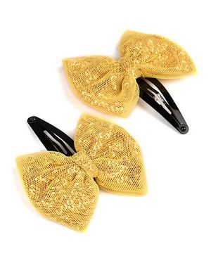 Knotty Ribbons Pair Of Handmade Glitter Bow Hair Clip - Yellow