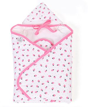 Tinycare Hooded Towel Cherry Print - Pink