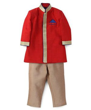 Robo Fry Full Sleeves Jacket And Pants - Red Beige