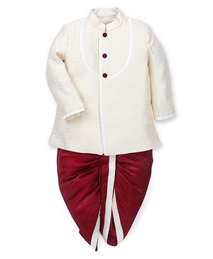 Babyoye Full Sleeves Kurta And Dhoti - Cream Maroon