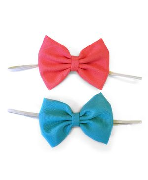 Knotty Ribbons Set Of Two Bow Headband - Pink & Blue
