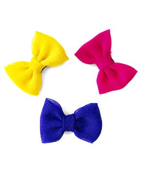 Knotty Ribbons Set Of Three Handmade Bow Hair Clips - Yellow Blue & Pink