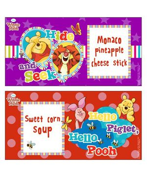 Winnie the Pooh Food Labels Pack of 10 - Red Purple