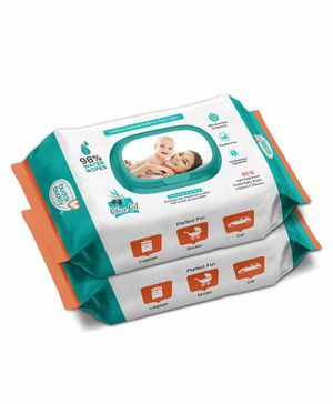 Buddsbuddy Combo Of 2 Baby Skincare Wet Wipes Jar White - 80 Pieces Per Pack